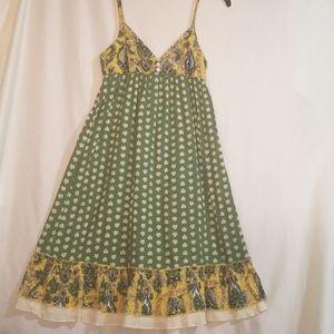 Billabong Green Yellow Boho Peasant Dress Small S